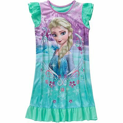New Girls Disney Frozen Sleep Night Gown Sleepwear Pajamas Size 7/8