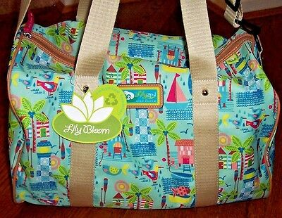 NWT Lily Bloom Zen Blue BEACH HOUSE Overnight/Travel/Gym Bag Duffel BIRDS~BOAT