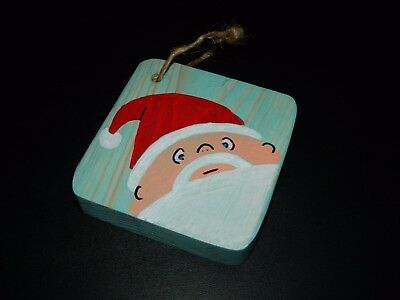 Santa w/ Antique Aqua Stain Hand Painted Wood Christmas Ornament w/ Twine