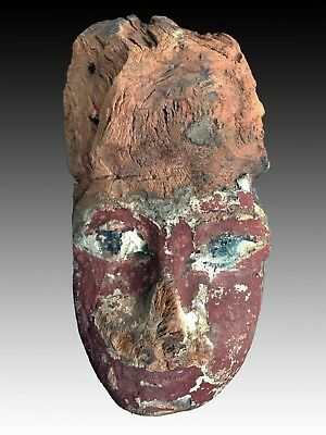 Ancient Egyptian Wooden Mummy Mask - 7 3/4 Inches