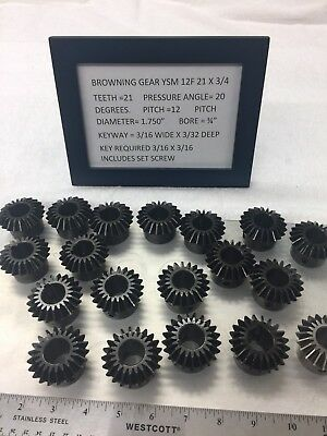 "One Pair Of Browning 90 Degree Miter Gear Ysm 12F 21 3/4"" Bore Lathe Machine Etc"