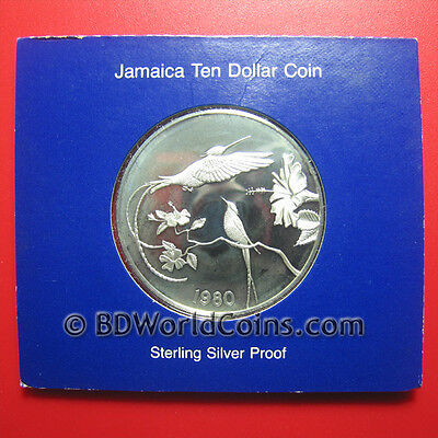 1980 Jamaica $10 Silver Proof Sealed Hummingbird Flowers Flora Fauna Mint=5,394