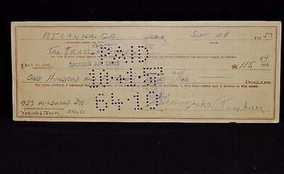 GEORGE POSCHNER (d.2004) WWII ORANGE & ROSE BOWL FOOTBALL SIGNED PERSONAL CHECK