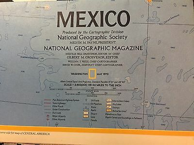 National Geographic Map Of Mexico And Central America 1973