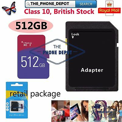 Class 10 512GB Micro SD Card & free Adapter For Smartphones Tablets Cameras etc