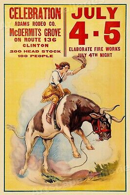 1930s Cowgirl Steer Bronc Rodeo Rider McDermits Grove Vintage Poster - 16x24