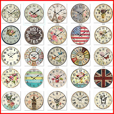 34cm Rustic Vintage Wall Clock Coloured MDF Boards Stylish Design Art Sculpture