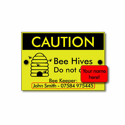 Personalised BEE KEEPING Sign with name & phone number 'Caution Bee Hives'