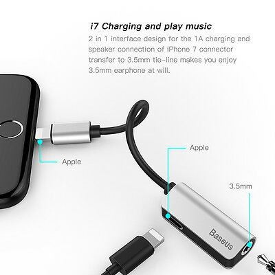 Baseus Aux Audio Cable Adapter Earphone 2 in 1 Lightning to 3.5mm Jack Headphone