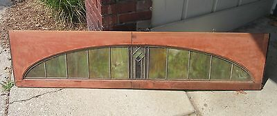 RARE Antique Stained Glass Transom Window Nickel Plate Railroad Dining Car