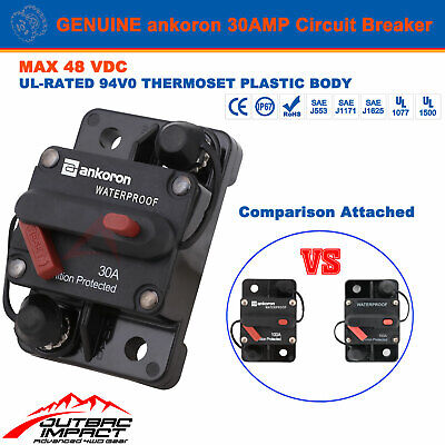 30A AMP Circuit Breaker Dual Battery Manual Reset IP67 W/proof 12V 24 Volt Fuse