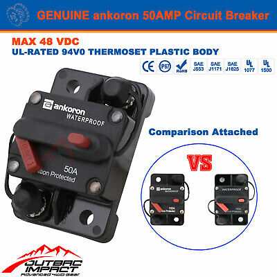 Genuine 50A AMP Circuit Breaker Dual Battery Manual Reset IP67 12V 24 Volt Fuse