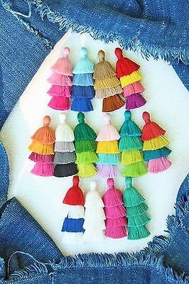 Tiered Tassels Handmade Cotton Earring Necklace Jewelry Layered Summer Fashion