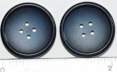 2 Antique Vintage French Buttons Blue One Inch