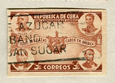 SPANISH CARIBBEAN;  1942 early Democracy issue IMPERF fine used 3c. value