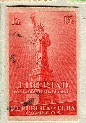 SPANISH CARIBBEAN;  1942 early Democracy issue IMPERF fine used 13c. value