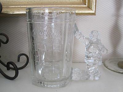 VTG Coca-Cola Heavy Clear Glass Mug Santa Square Soda Vending Machine Look