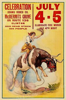 1920s Wester Rodeo Advertising Poster 24x30 Tombsone AZ