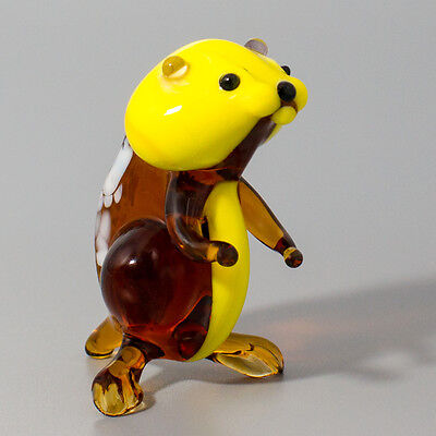 "Hamster 2,75"" Figurine Blown Glass Russian Murano Handmade Art Miniature Décor"