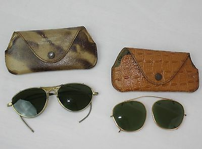 Vintage 1950s Aviator Sunglasses Leather Cases Clip On Lot of 2 Steampunk