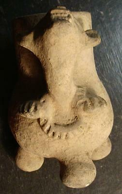 Pre-Columbian? EFFIGY POTTERY VESSEL GROWING WITH TEETH SHOWING-EX DR. BURKE