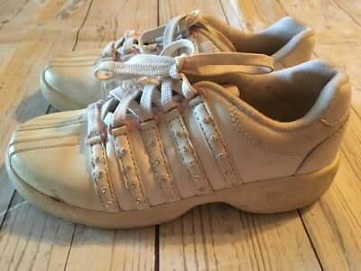 K Swiss Girls Size 1 White Leather Athletic Sneaker Tennis Shoes Pink Casual