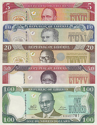 Liberia 5 Note Set: 5 to 100 Dollars (2011) p26f, 27f, 28f, 29e and 30f UNC