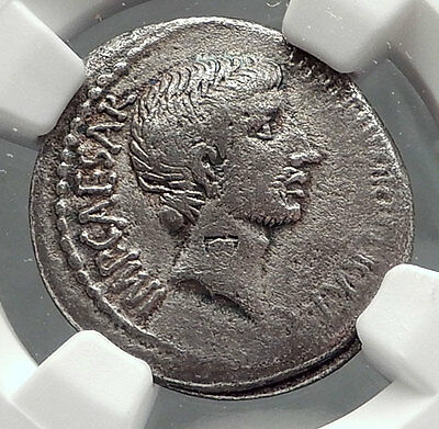 AUGUSTUS as OCTAVIAN 37BC Rare Authentic Ancient Silver Roman Coin NGC i63890