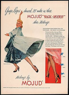 Vintage magazine ad MOJUD MAGIC MOTION sheer stockings Ginger Rogers 1951 n-mint