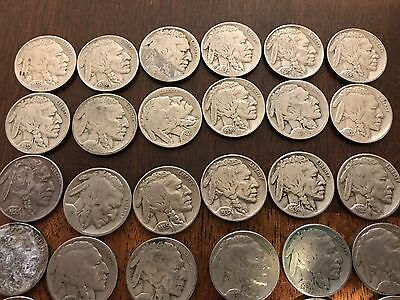 BUFFALO NICKELS 6 Rolls of Circulated MIXED DATES. 240 Coins Total.   NOT Culls.
