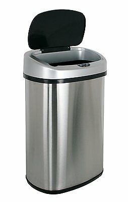 New 13-Gallon Touch-Free Sensor Automatic Stainless-Steel Trash Can Kitchen Hand