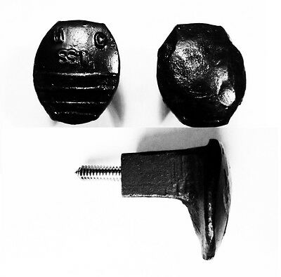 2 Black Easy Screw Railroad Spike Knobs Door Pulls Cupboard Antique Vintage Old