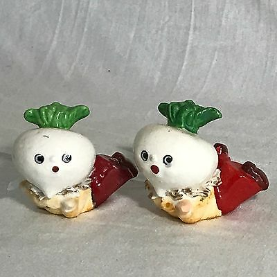 Vintage Anthropomorphic Onion Garlic Turnip Salt Pepper Shakers Japan