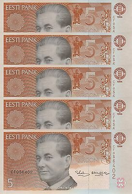 LOT, Estonia 76 5 Krooni (1994) x 5 PCS UNC
