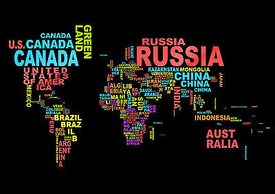 Countries Of The World Wall Art Educational Geography Map Poster Print A4 A3