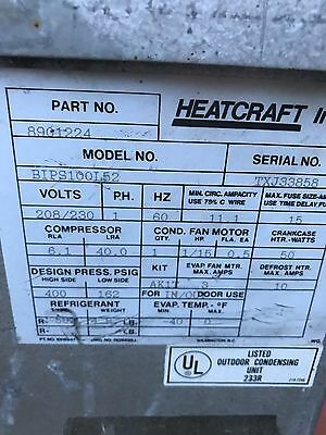 WA Brown/Heatcraft Freezer Condensing Unit 208 V 1 Phase Outdoor  r-502 A