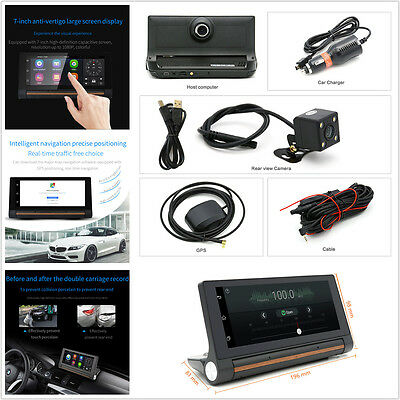 7'' 1080P Dual Lens Car DVR Camera Android 3G Wifi Bluetooth Video Recorder GPS