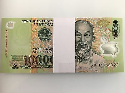 Two Uncirculated Vietnamese 100,000 Dong Notes (2 x 100,000) Currency Bills MINT