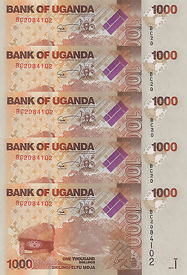 LOT, Uganda 1000 Shillings (2010) p49 x 5 PCS UNC