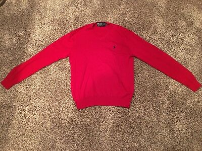 POLO RALPH LAUREN Men's Red V Neck Sweater. Size Medium. Excellent Condition!