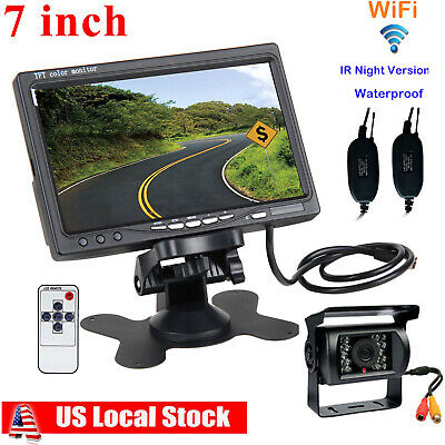 "Wireless IR Rear View Backup Camera Night Vision System +7"" Monitor For RV Truck"