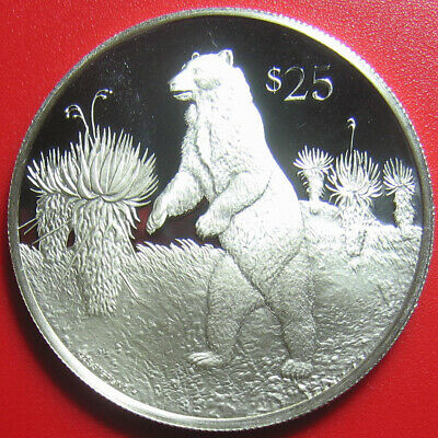 1993 British Virgin Islands $25 Silver Proof Spectacled Andean Bear Wildlife Bvi