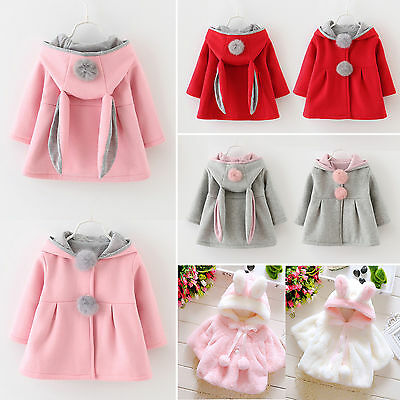 Baby Girl Kid Rabbit Ear Hoodie Coats Winter Pom Pom Clothes Warm Jacket Outwear