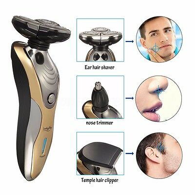 Men's Rechargeable Washable Cordless 3D Rotary Electric Shaver Hair Beard Razor