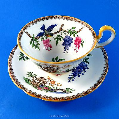 Blue Birds on Wisteria and Pagoda Aynsley Tea Cup and Saucer Set