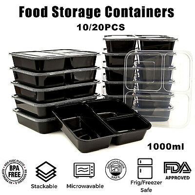 10/20pcs Microwavable Meal Prep Containers Plastic Food Storage Reusable Box L