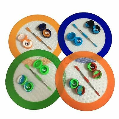 """1 Non-stick 5mL Silicone Container 7.87"""" Round Mat Dab Dabber Chrome Tool Kit"""