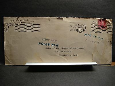 USS SALINAS AO-19 Naval Cover 1931 BALBOA, CANAL ZONE Surcharged stamp