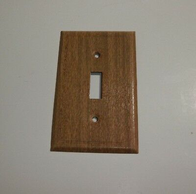 Vintage Single Light Switch Plate Cover Metal but Looks like Wood