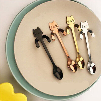Cute Cat Stainless Steel Ice Cream Cocktail Teaspoons Coffee Soup Tea Spoons New
